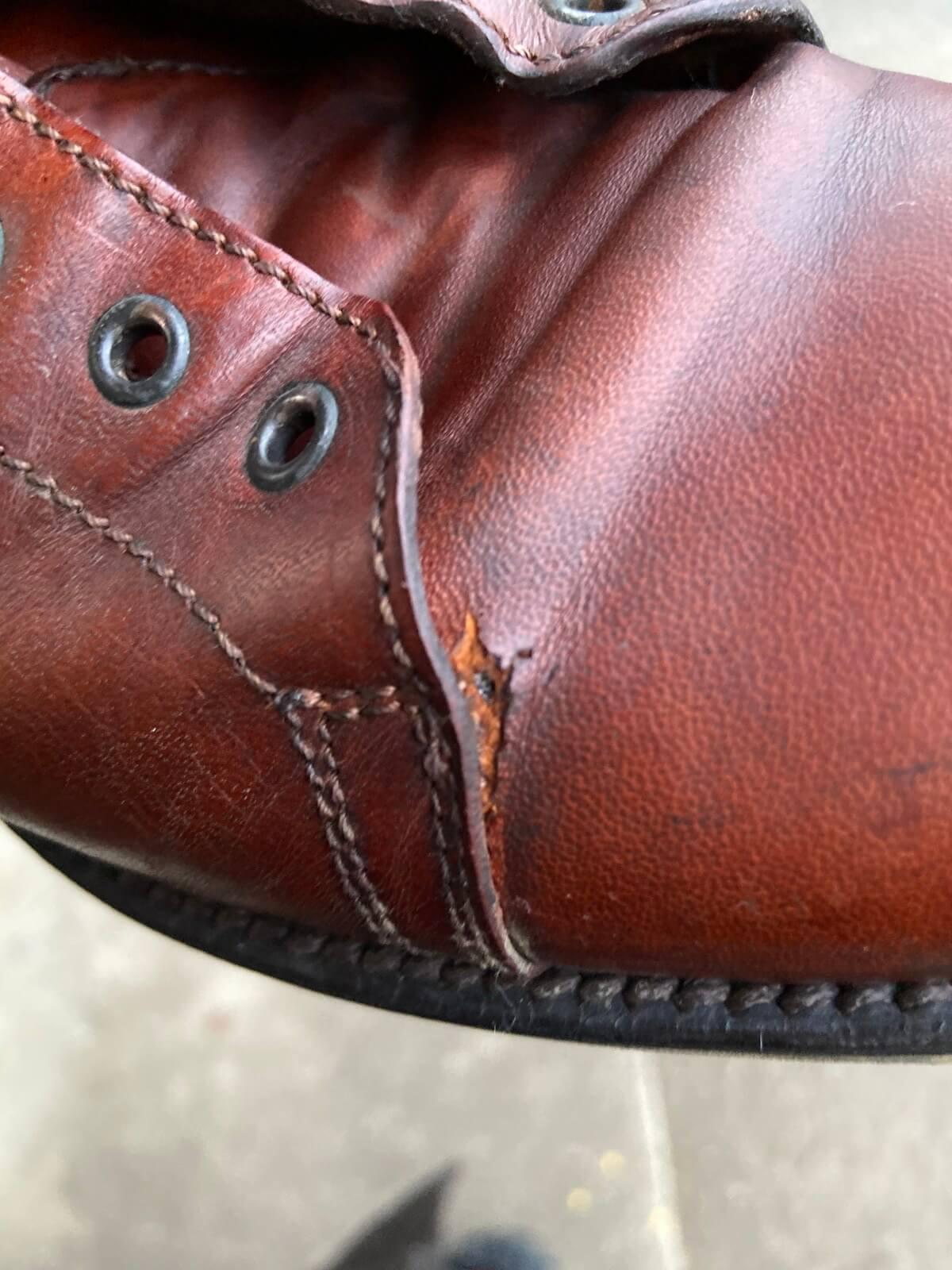 【革靴の破れを修理】今回の修理依頼品