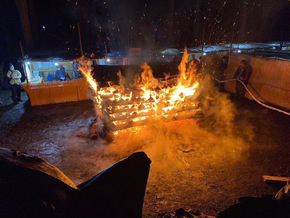 【黒石寺蘇民祭】たき火