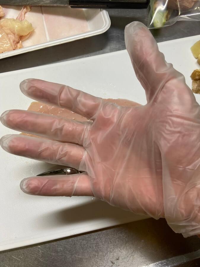 調理時はビニール手袋