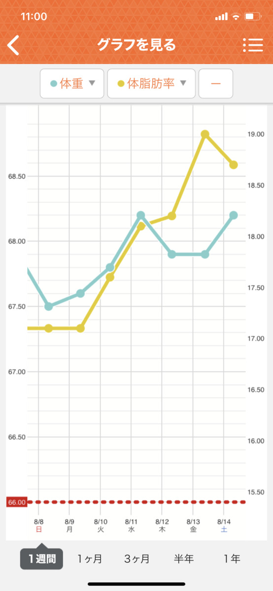 HIITダイエット2週目の直近1週間グラフ