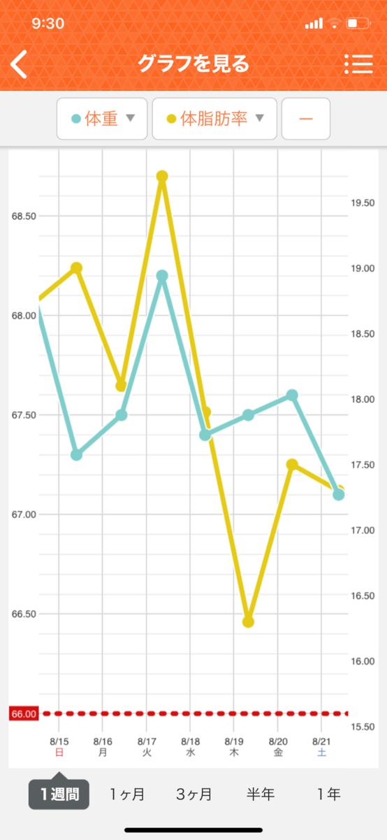 HIITダイエット3週目の直近1週間グラフ