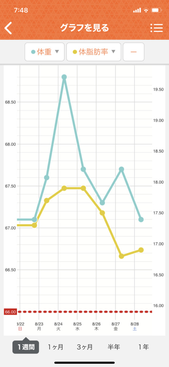 HIITダイエット4週目の直近1週間グラフ