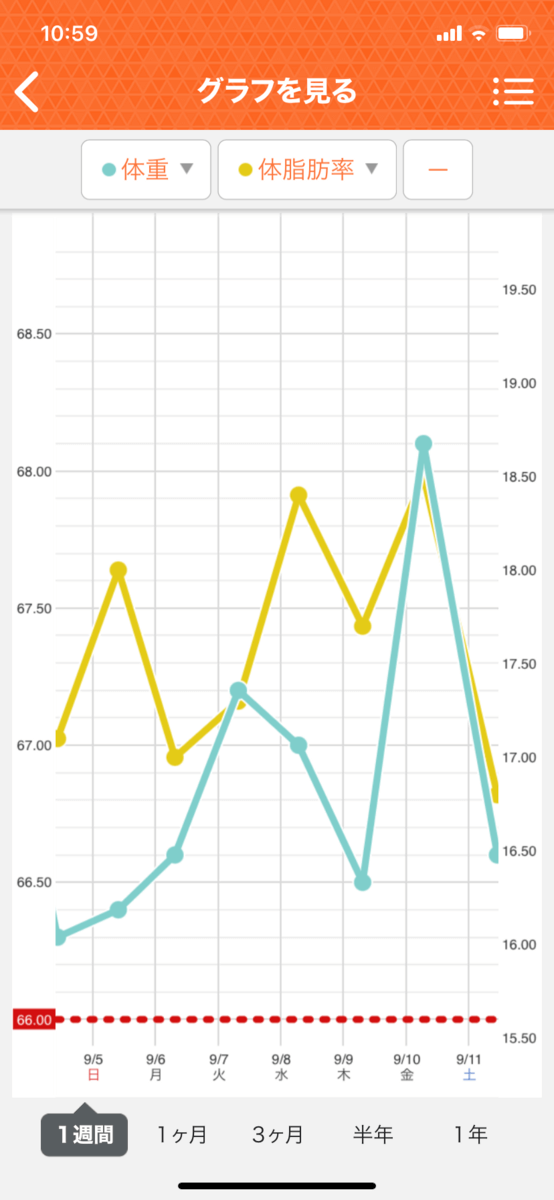 HIITダイエット6週目の直近1週間グラフ