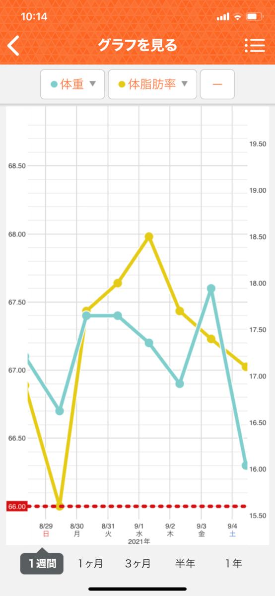 HIITダイエット5週目の直近1週間グラフ
